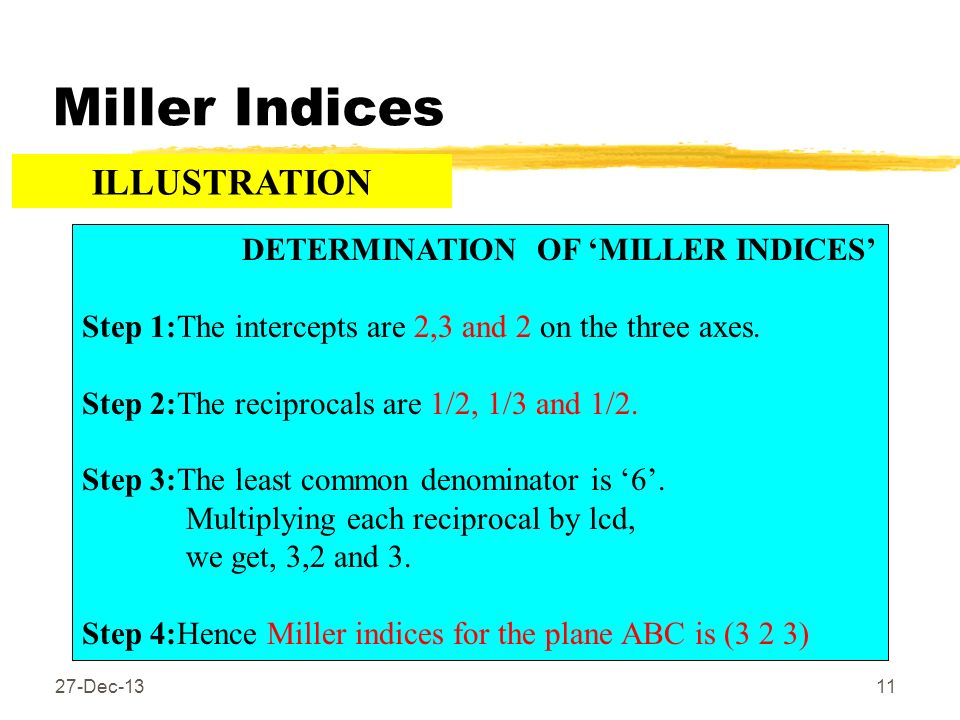 Miller Indices 27-Dec-1311 DETERMINATION OF MILLER INDICES Step 1:The intercepts are 2,3 and 2 on the three axes. Step 2:The reciprocals are 1/2, 1/3