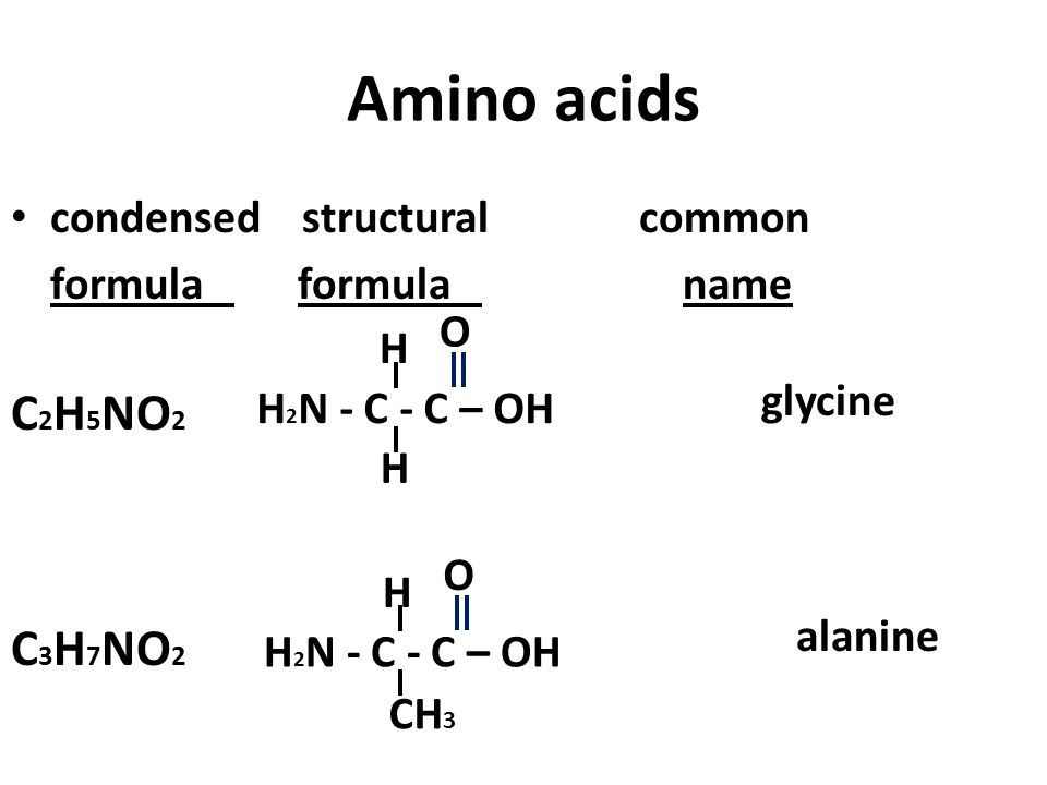 Amino acids condensed structural common formula formula name C 2 H 5 NO 2 glycine alanine H 2 N - C - C – OH O H H O H CH 3 C 3 H 7 NO 2