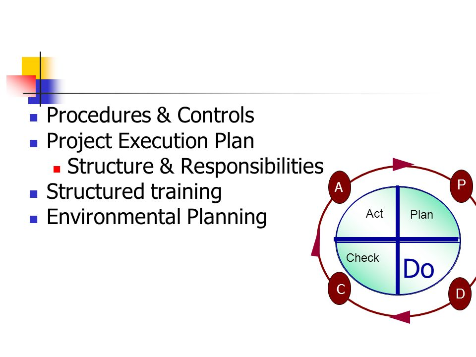 Procedures & Controls Project Execution Plan Structure & Responsibilities Structured training Environmental Planning Check Act P D A C Plan Do