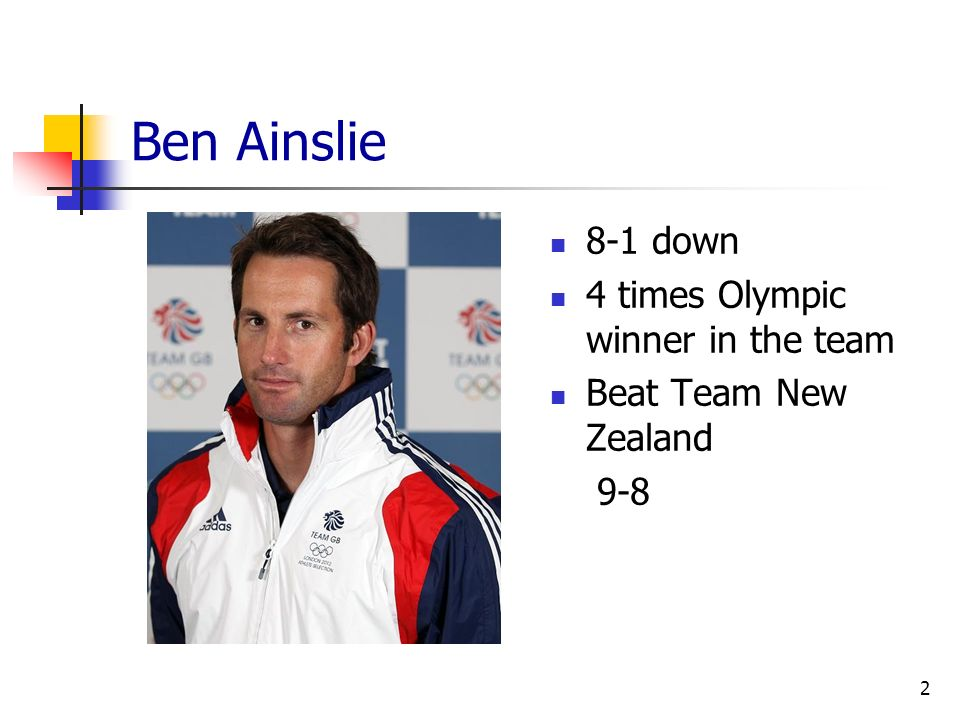 Ben Ainslie 8-1 down 4 times Olympic winner in the team Beat Team New Zealand 9-8 2