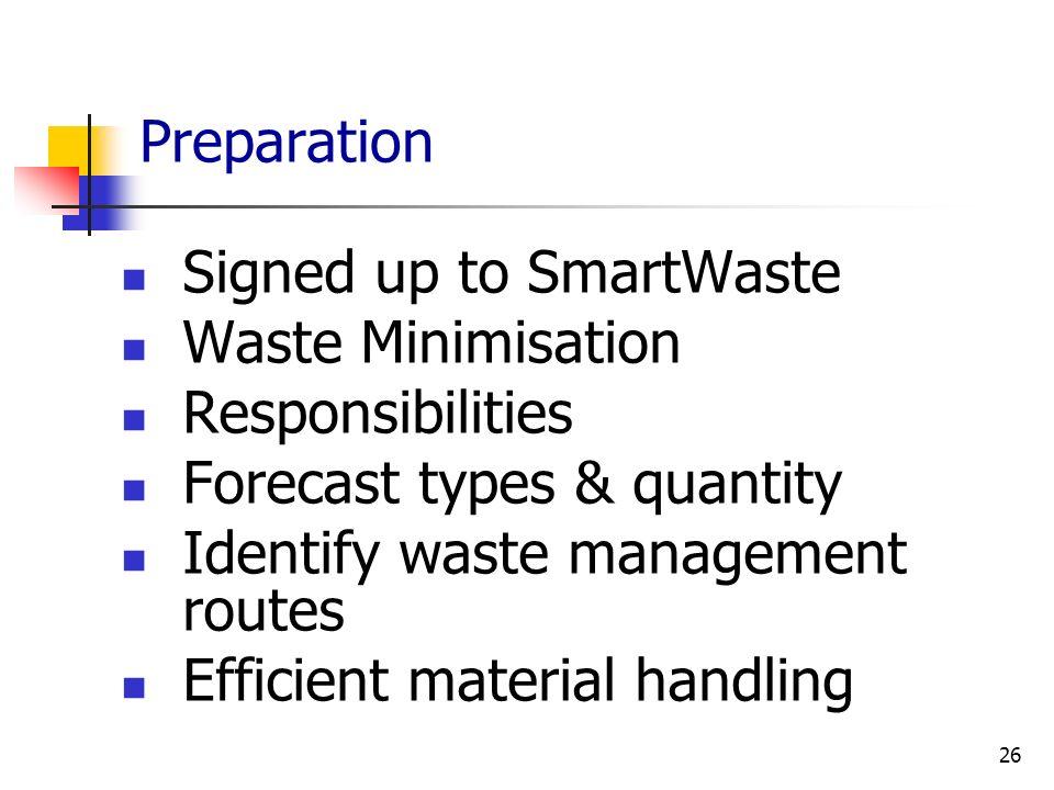 26 Preparation Signed up to SmartWaste Waste Minimisation Responsibilities Forecast types & quantity Identify waste management routes Efficient materi
