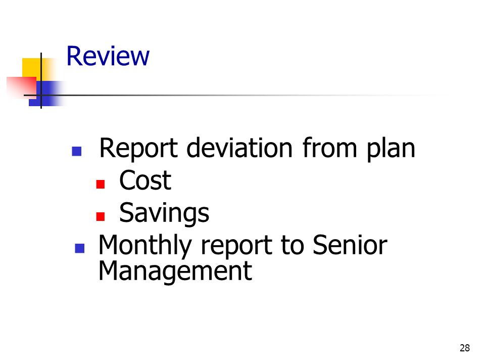 Review Report deviation from plan Cost Savings Monthly report to Senior Management 28