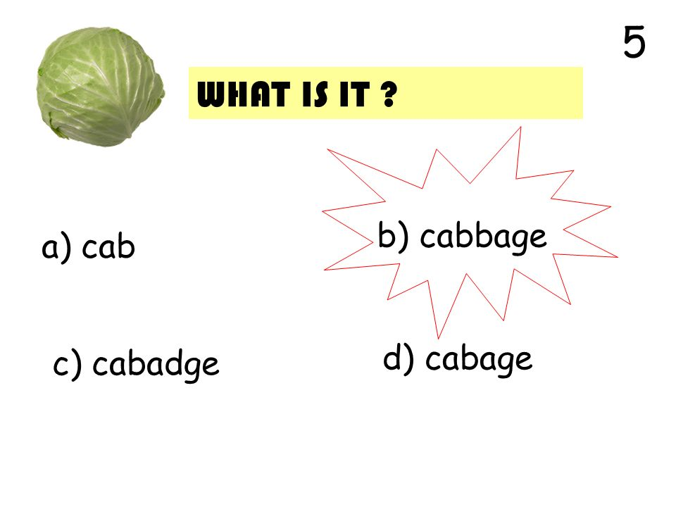 a) cab b) cabbage c) cabadge d) cabage 5 WHAT IS IT