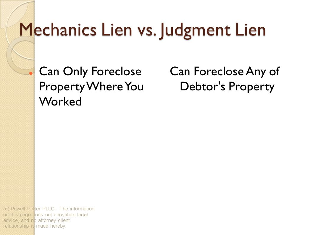 Mechanics Lien vs.