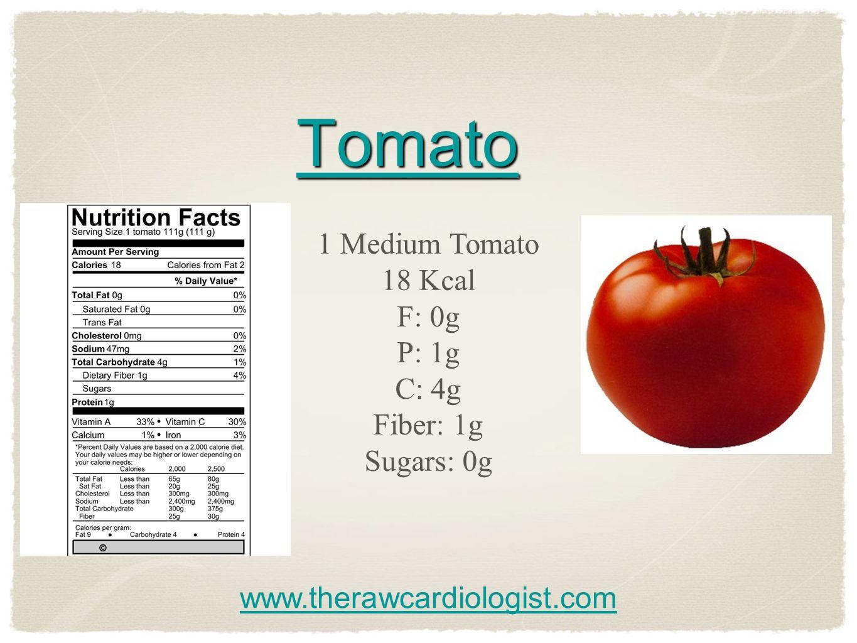 Tomato 1 Medium Tomato 18 Kcal F: 0g P: 1g C: 4g Fiber: 1g Sugars: 0g www.therawcardiologist.com