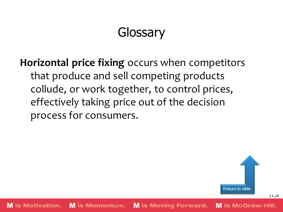 Return to slide Horizontal price fixing occurs when competitors that produce and sell competing products collude, or work together, to control prices,