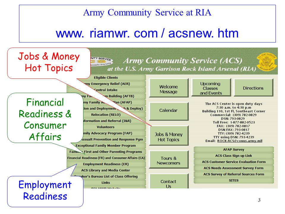 3 Army Community Service at RIA www. riamwr. com / acsnew. htm Jobs & Money Hot Topics Financial Readiness & Consumer Affairs Employment Readiness