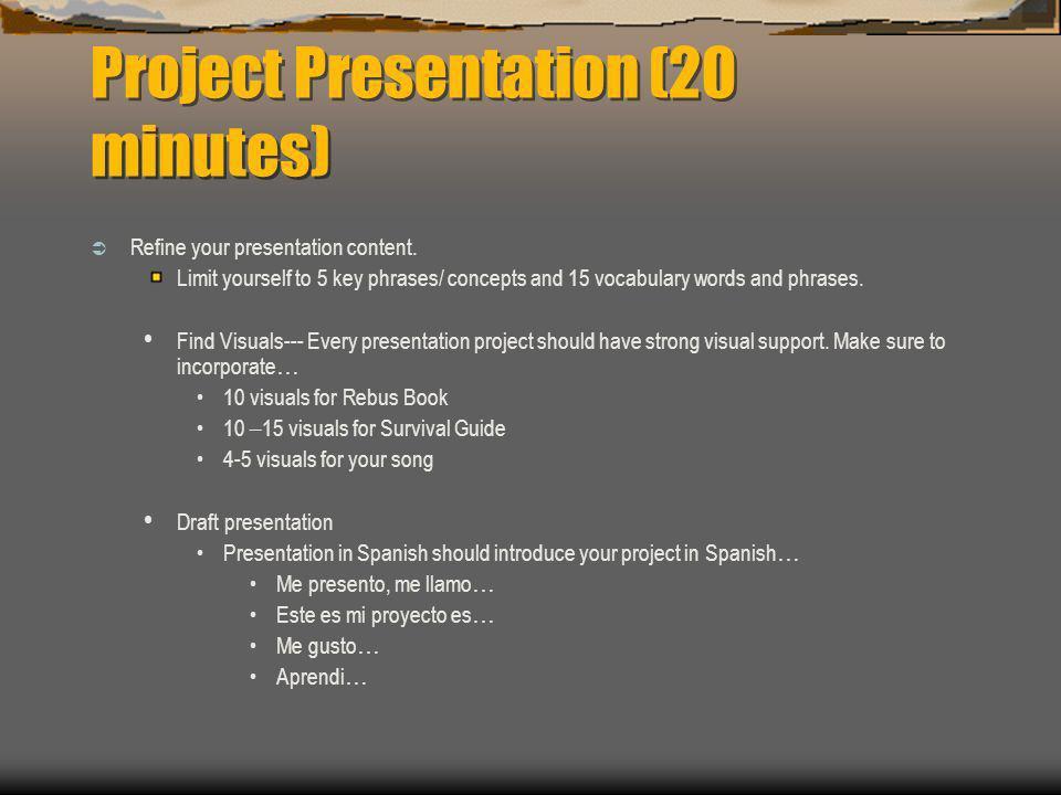 Project Presentation (20 minutes) Refine your presentation content.