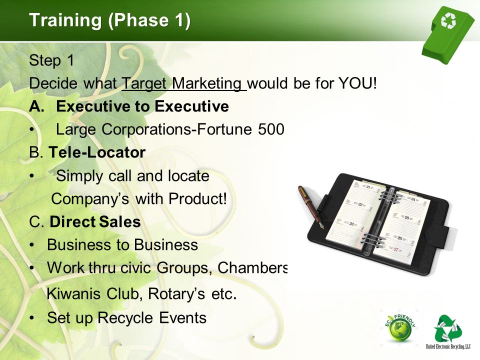 Training (Phase 1) Step 1 Decide what Target Marketing would be for YOU.