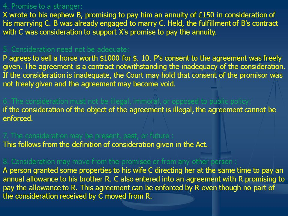 4. Promise to a stranger: X wrote to his nephew B, promising to pay him an annuity of £150 in consideration of his marrying C. B was already engaged t
