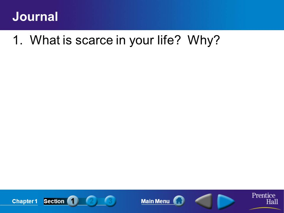 Chapter 1SectionMain Menu Journal 1. What is scarce in your life Why