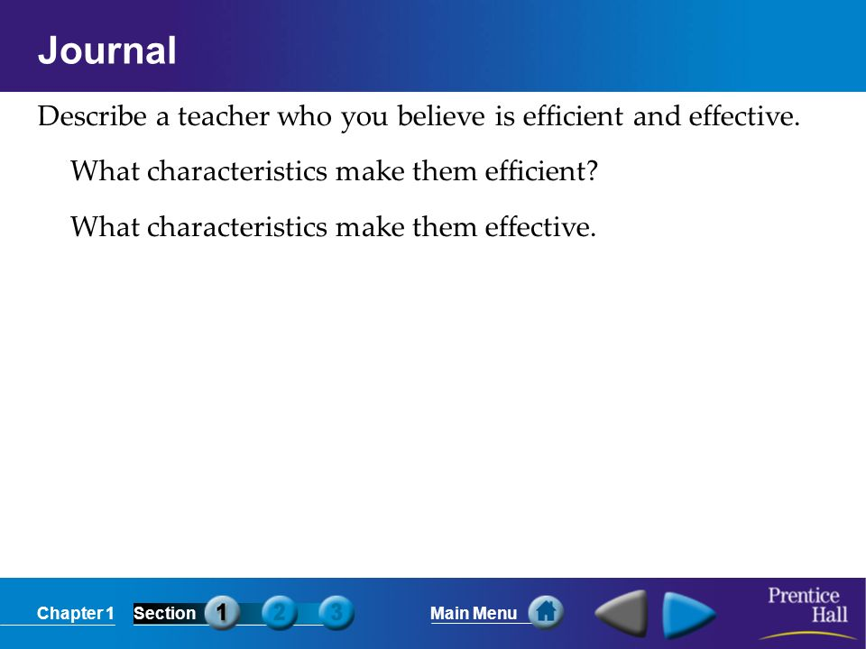 Chapter 1SectionMain Menu Journal Describe a teacher who you believe is efficient and effective.