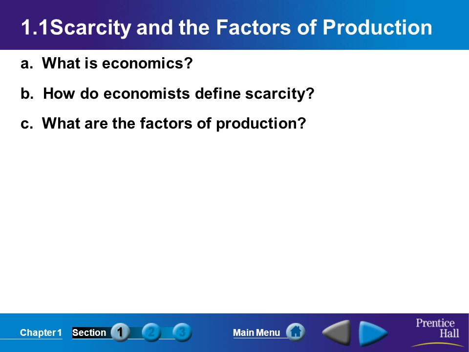 Chapter 1SectionMain Menu 1.1Scarcity and the Factors of Production a.