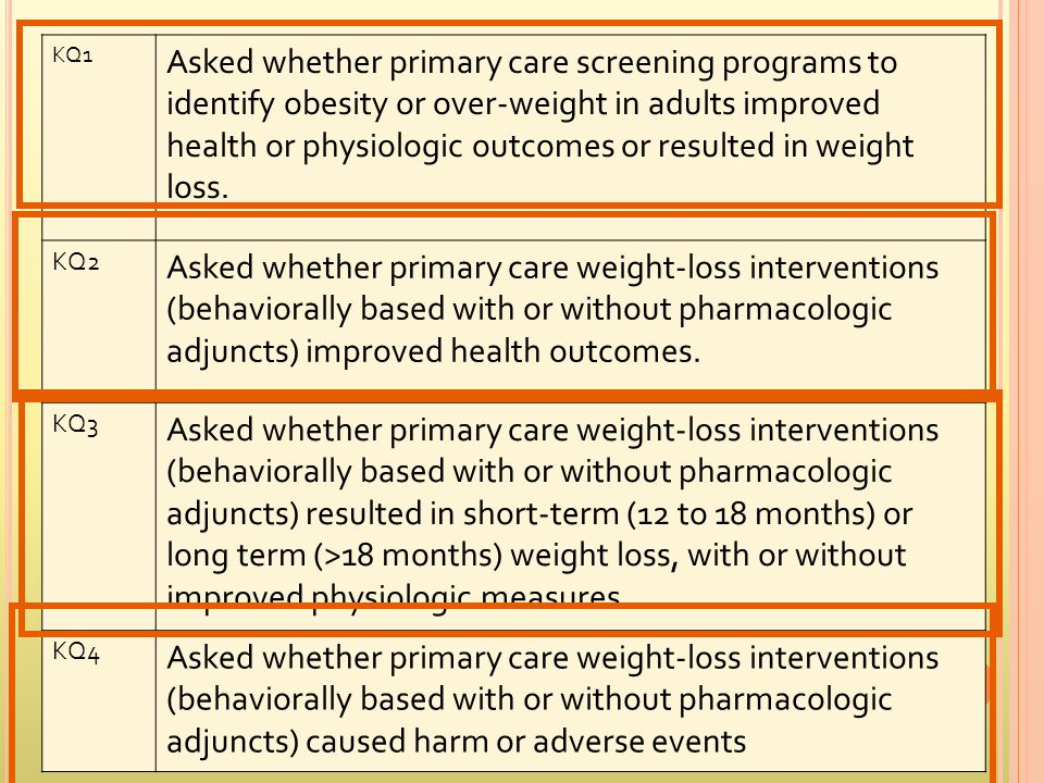 KQ1 Asked whether primary care screening programs to identify obesity or over-weight in adults improved health or physiologic outcomes or resulted in