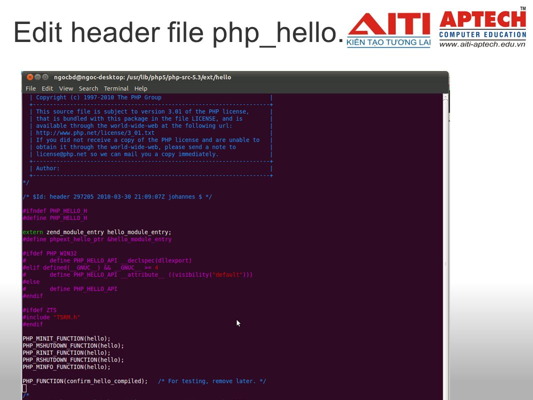 Edit header file php_hello.h