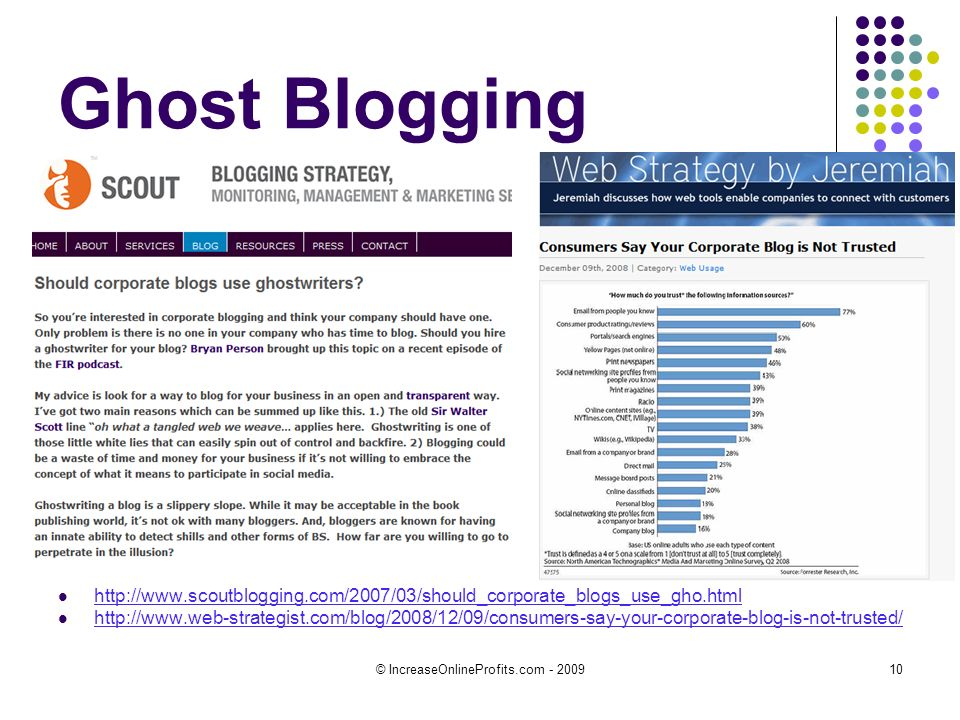 © IncreaseOnlineProfits.com - 200910 Ghost Blogging http://www.scoutblogging.com/2007/03/should_corporate_blogs_use_gho.html http://www.web-strategist