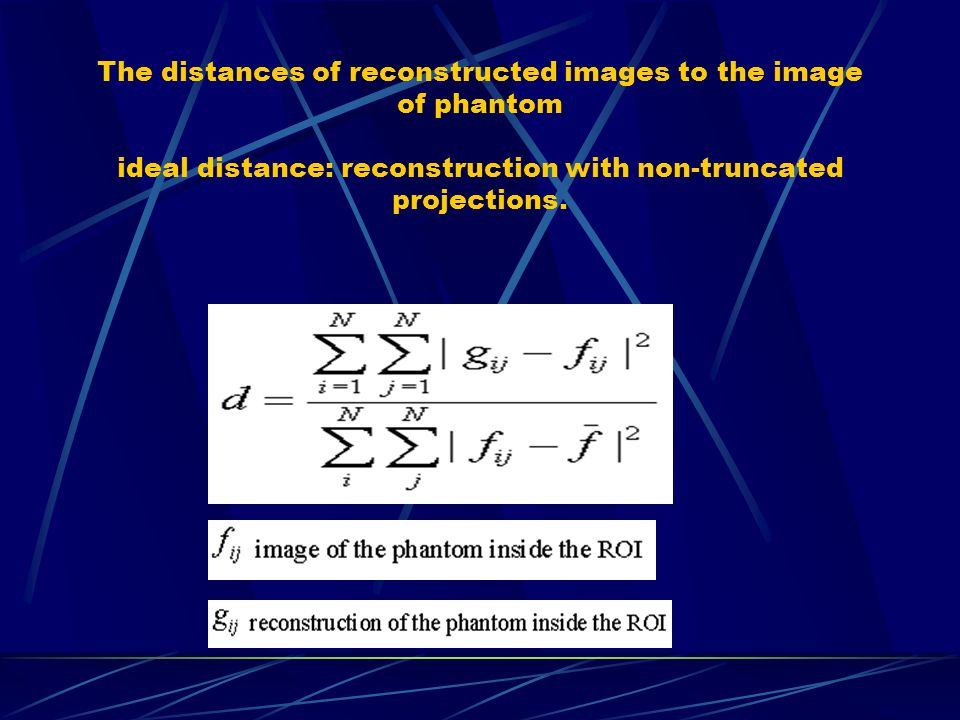 The distances of reconstructed images to the image of phantom ideal distance: reconstruction with non-truncated projections.