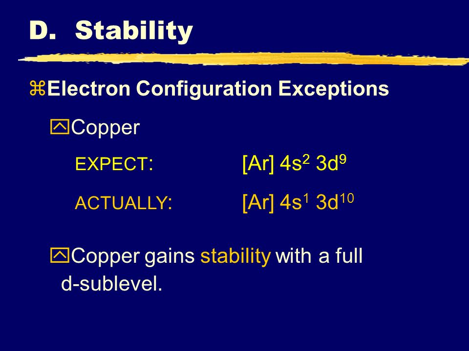 zElectron Configuration Exceptions yCopper EXPECT :[Ar] 4s 2 3d 9 ACTUALLY :[Ar] 4s 1 3d 10 yCopper gains stability with a full d-sublevel.