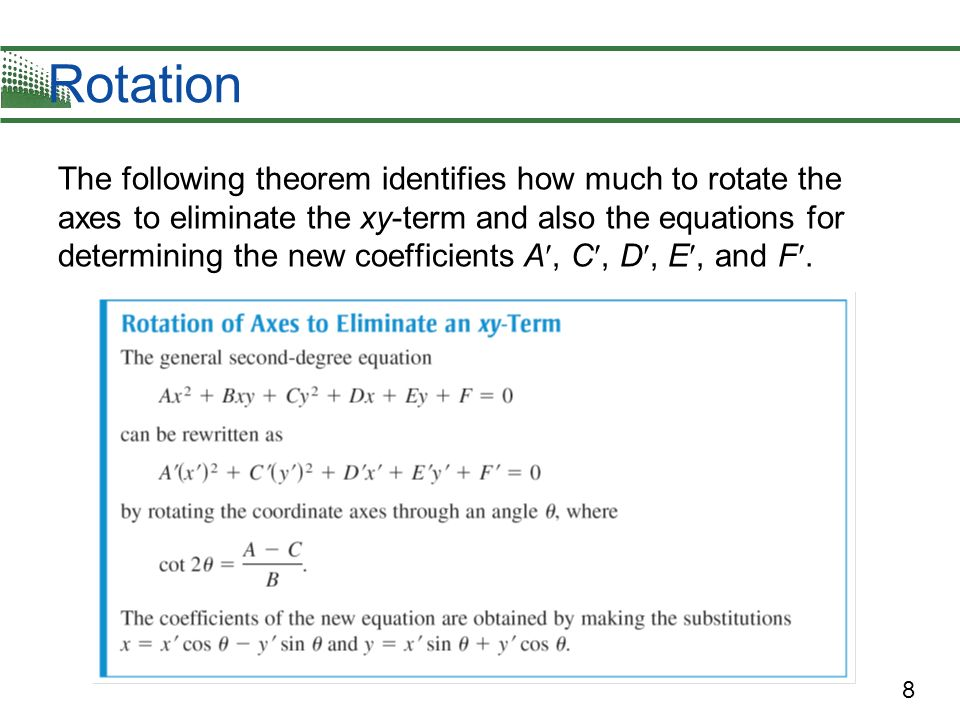8 Rotation The following theorem identifies how much to rotate the axes to eliminate the xy-term and also the equations for determining the new coeffi