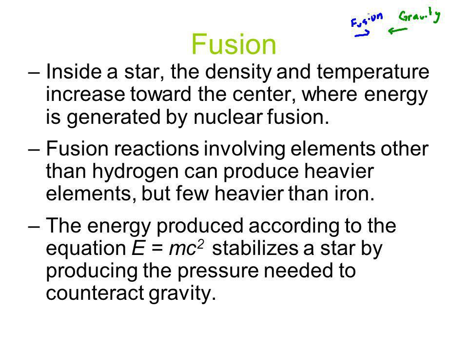 Fusion –Inside a star, the density and temperature increase toward the center, where energy is generated by nuclear fusion. –Fusion reactions involvin