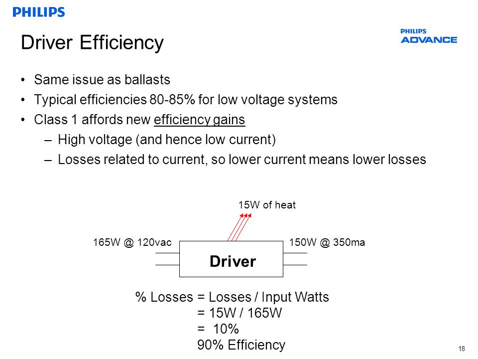 18 Driver Efficiency Same issue as ballasts Typical efficiencies 80-85% for low voltage systems Class 1 affords new efficiency gains –High voltage (an