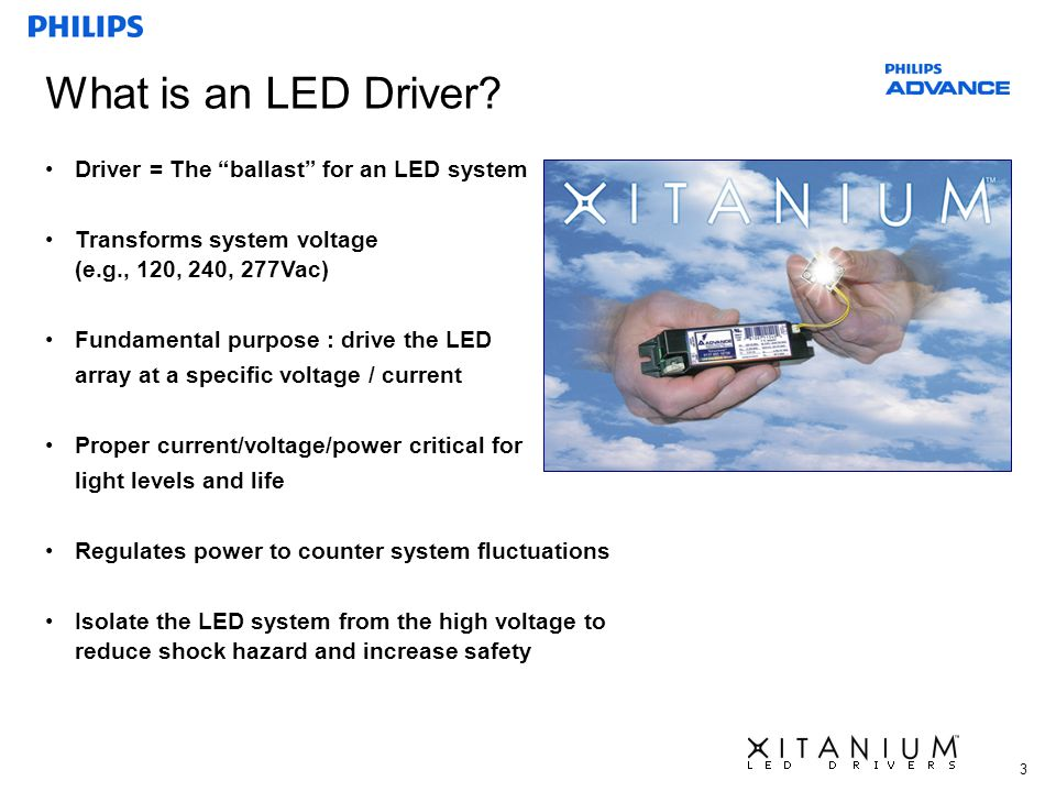 3 What is an LED Driver? Driver = The ballast for an LED system Transforms system voltage (e.g., 120, 240, 277Vac) Fundamental purpose : drive the LED