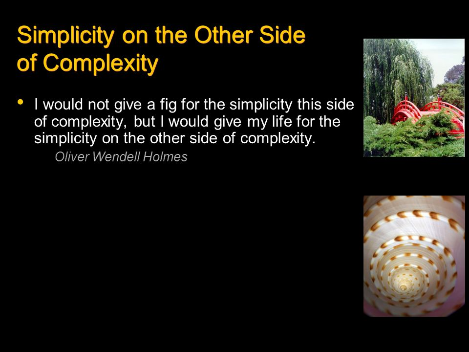 I would not give a fig for the simplicity this side of complexity, but I would give my life for the simplicity on the other side of complexity. Oliver