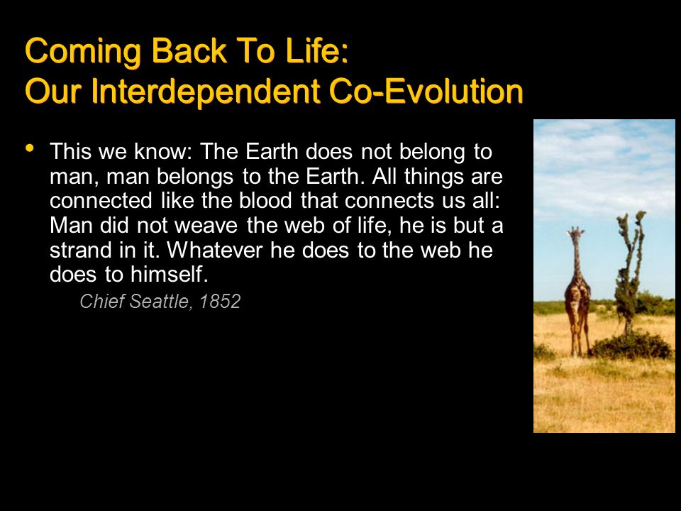 Coming Back To Life: Our Interdependent Co-Evolution This we know: The Earth does not belong to man, man belongs to the Earth. All things are connecte