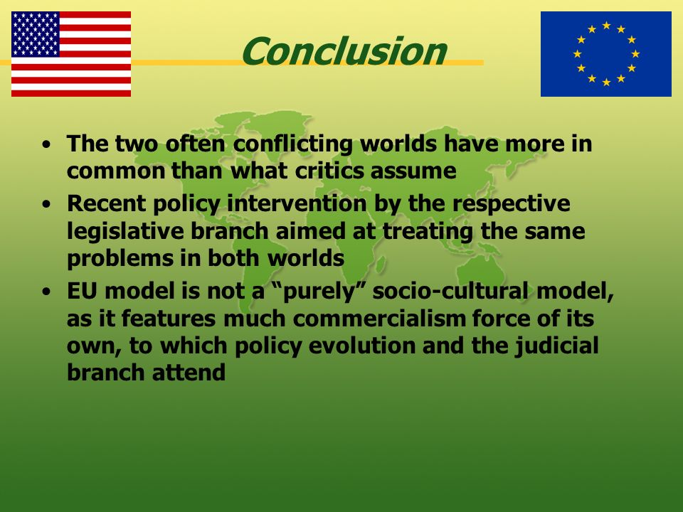 Conclusion The two often conflicting worlds have more in common than what critics assume Recent policy intervention by the respective legislative bran
