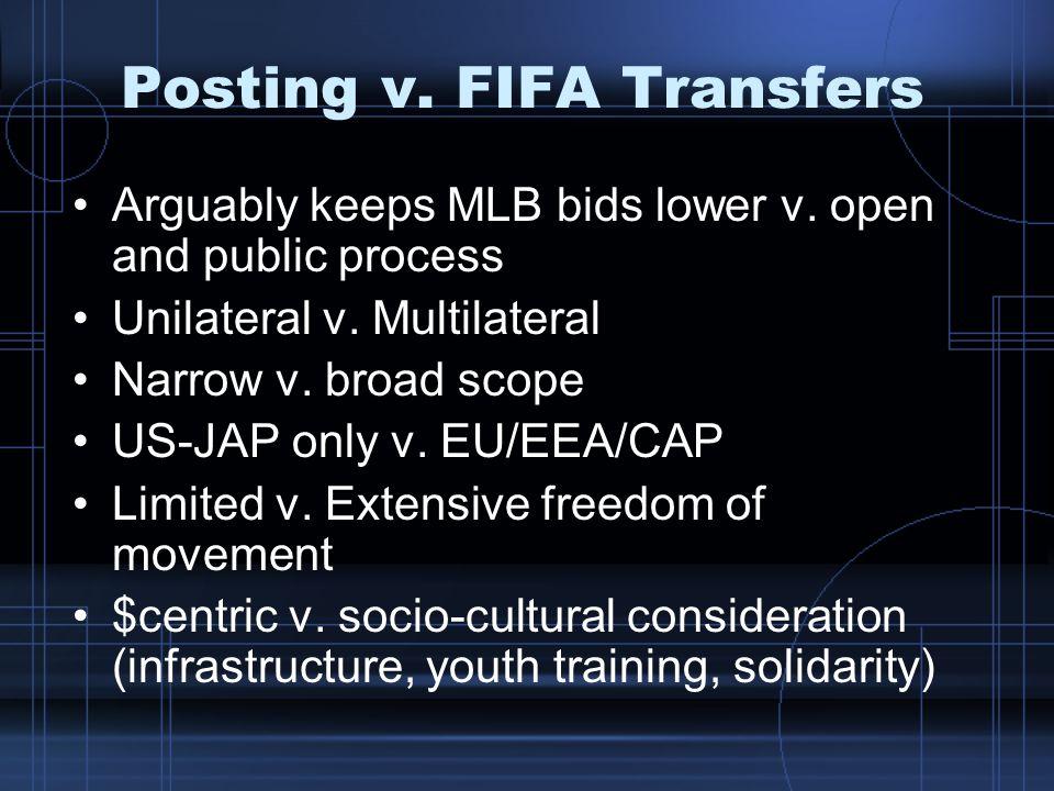 Posting v. FIFA Transfers Arguably keeps MLB bids lower v. open and public process Unilateral v. Multilateral Narrow v. broad scope US-JAP only v. EU/