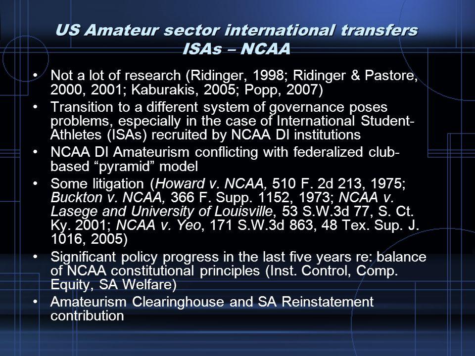 US Amateur sector international transfers ISAs – NCAA Not a lot of research (Ridinger, 1998; Ridinger & Pastore, 2000, 2001; Kaburakis, 2005; Popp, 20