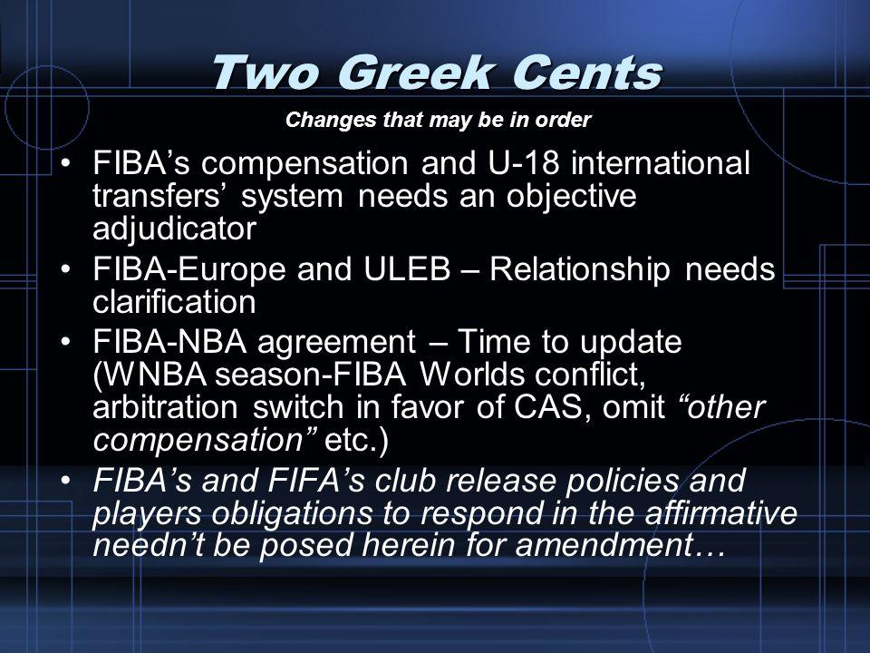 Two Greek Cents FIBAs compensation and U-18 international transfers system needs an objective adjudicator FIBA-Europe and ULEB – Relationship needs cl
