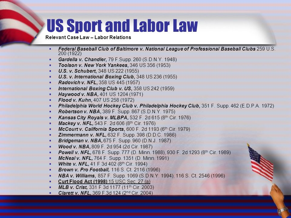 Relevant Case Law – Labor Relations Federal Baseball Club of Baltimore v. National League of Professional Baseball Clubs 259 U.S. 200 (1922) Gardella