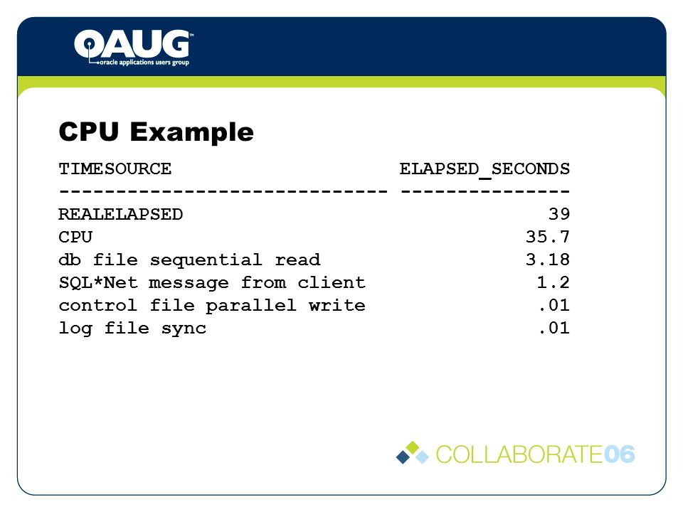 CPU Example TIMESOURCE ELAPSED_SECONDS ----------------------------- --------------- REALELAPSED 39 CPU 35.7 db file sequential read 3.18 SQL*Net message from client 1.2 control file parallel write.01 log file sync.01
