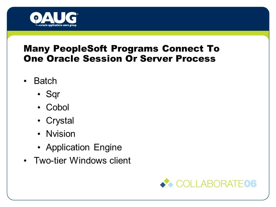 Many PeopleSoft Programs Connect To One Oracle Session Or Server Process Batch Sqr Cobol Crystal Nvision Application Engine Two-tier Windows client