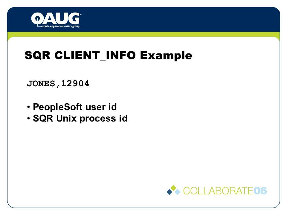 SQR CLIENT_INFO Example JONES,12904 PeopleSoft user id SQR Unix process id
