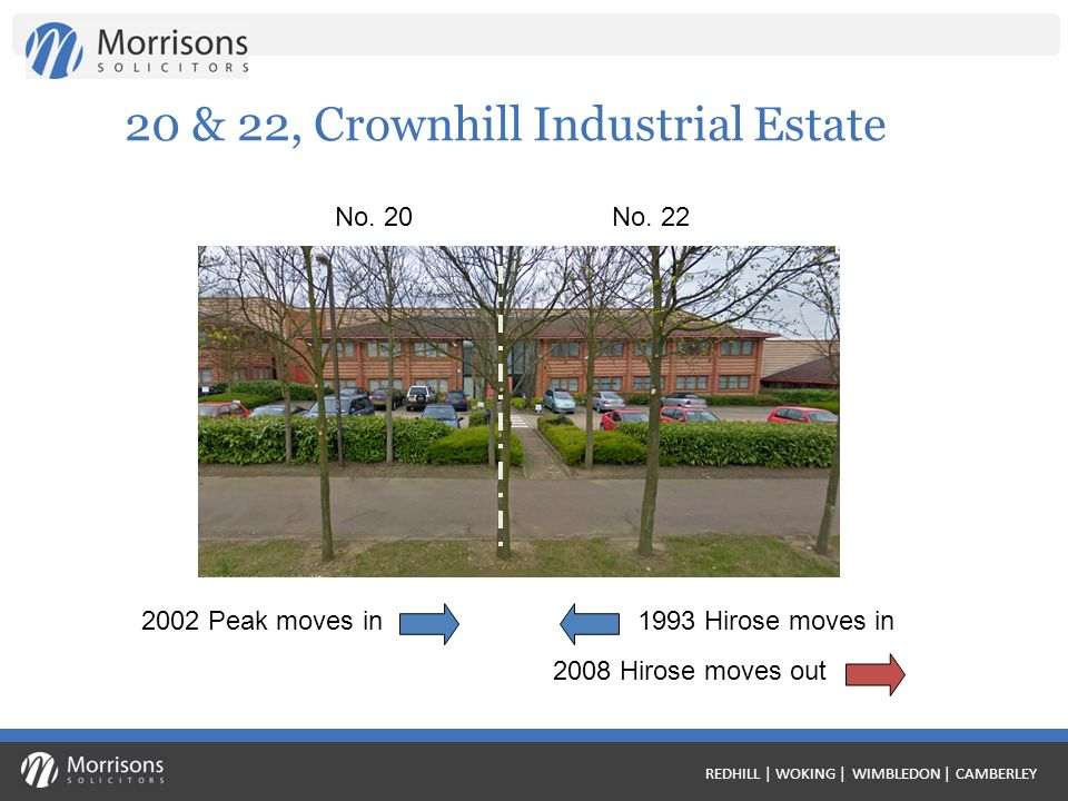 REDHILL | WOKING | WIMBLEDON | CAMBERLEY 20 & 22, Crownhill Industrial Estate 1993 Hirose moves in No.