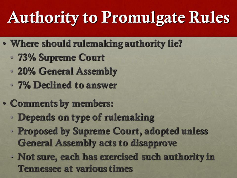 Authority to Promulgate Rules Where should rulemaking authority lie.