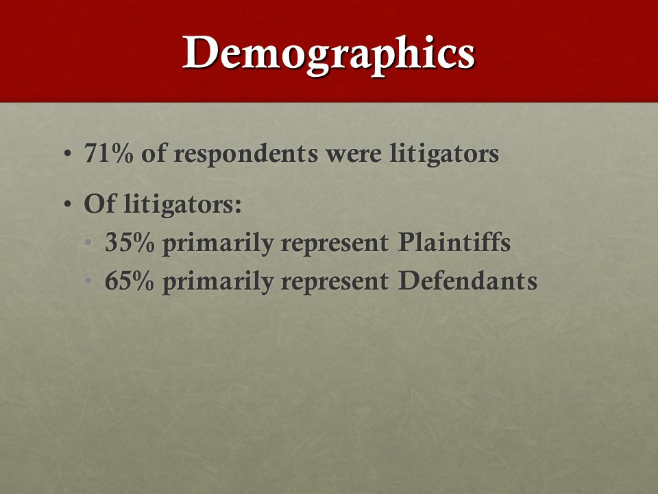 Demographics 71% of respondents were litigators 71% of respondents were litigators Of litigators: Of litigators: 35% primarily represent Plaintiffs 35% primarily represent Plaintiffs 65% primarily represent Defendants 65% primarily represent Defendants