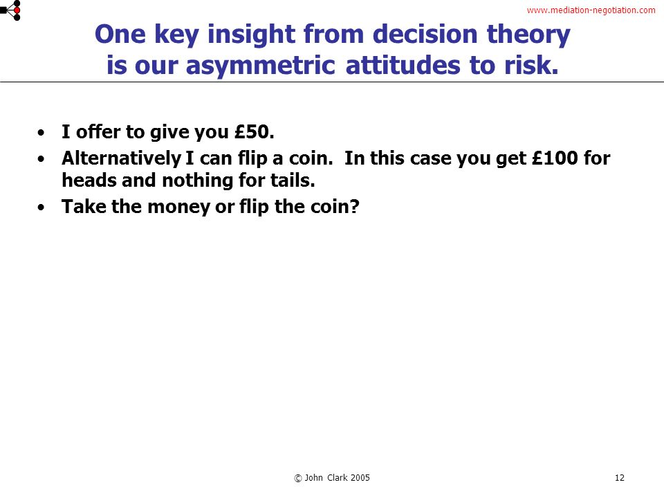 www.mediation-negotiation.com © John Clark 200512 One key insight from decision theory is our asymmetric attitudes to risk.