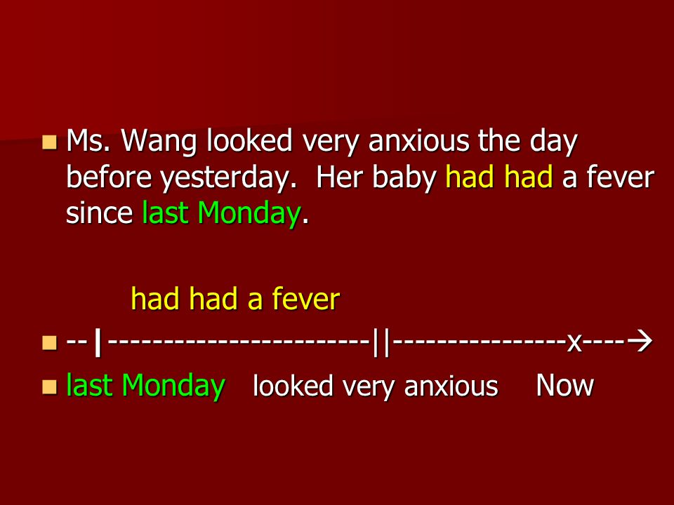 Ms. Wang looked very anxious the day before yesterday.