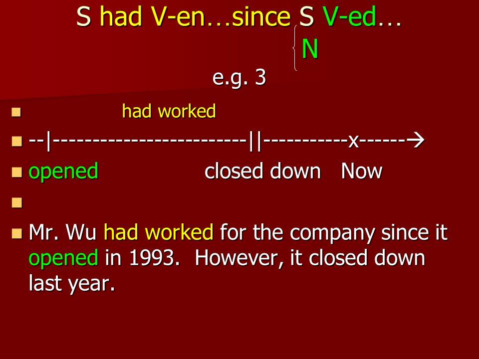 S had V-en … since S V-ed … N e.g.