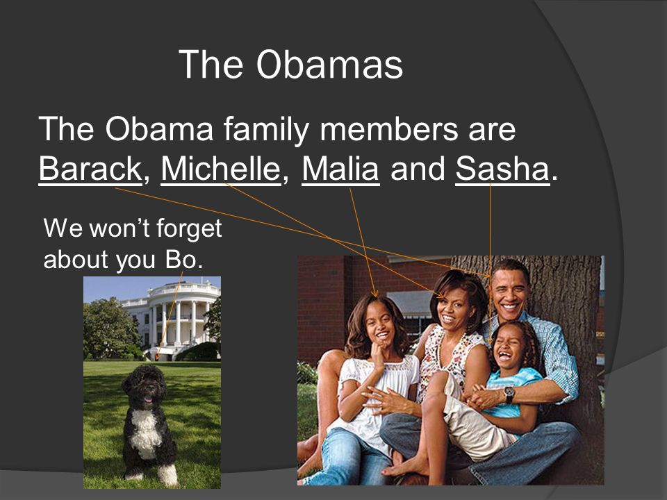 The Obamas The Obama family members are Barack, Michelle, Malia and Sasha. We wont forget about you Bo.