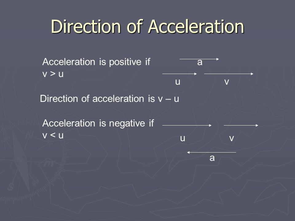 Direction of Acceleration uv uv a a Direction of acceleration is v – u Acceleration is positive if v > u Acceleration is negative if v < u