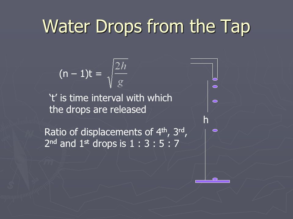 Water Drops from the Tap h (n – 1)t = t is time interval with which the drops are released Ratio of displacements of 4 th, 3 rd, 2 nd and 1 st drops is 1 : 3 : 5 : 7