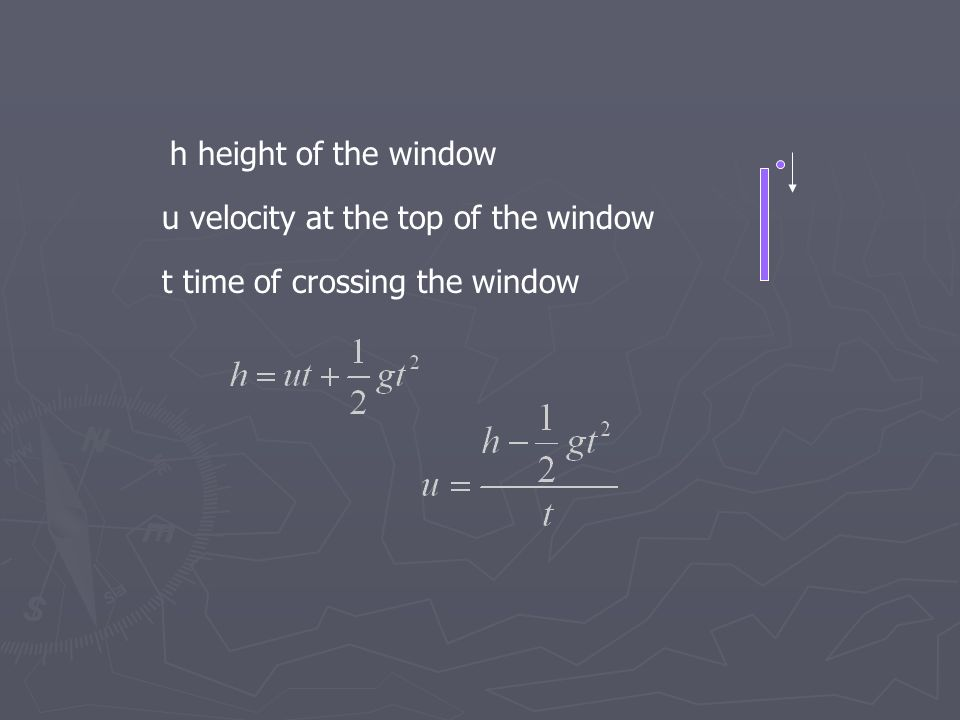 h height of the window u velocity at the top of the window t time of crossing the window