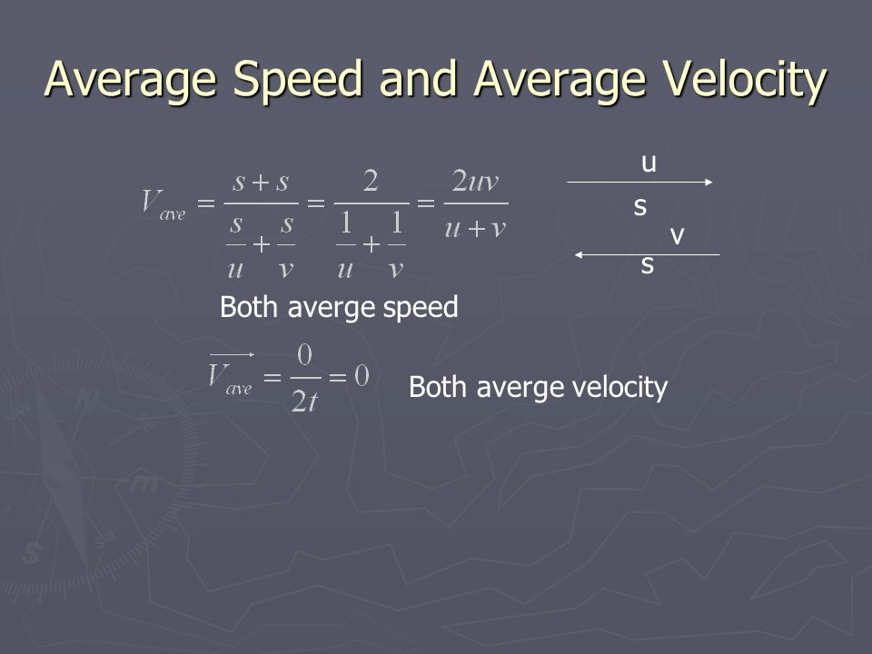 Average Speed and Average Velocity v s u s Both averge speed Both averge velocity