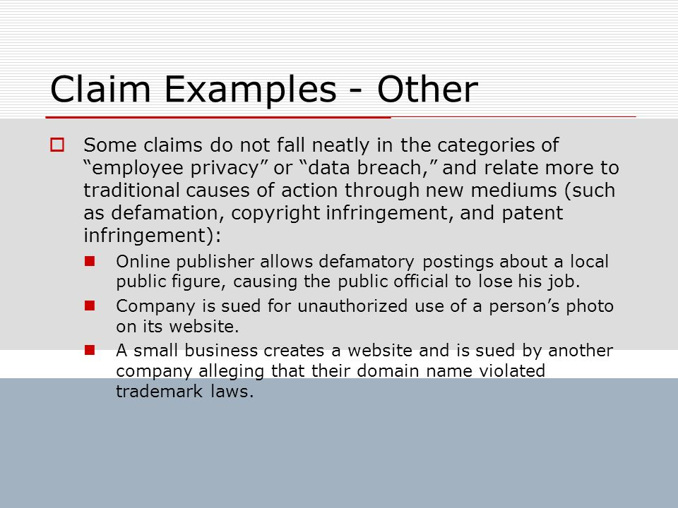 Claim Examples - Other Some claims do not fall neatly in the categories of employee privacy or data breach, and relate more to traditional causes of a