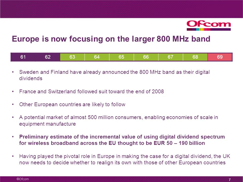 6 Alignment with Europe – the 800MHz band