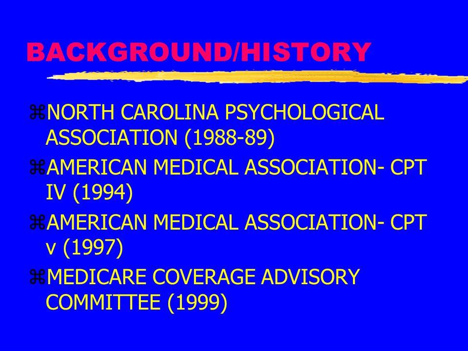 BACKGROUND/HISTORY zNORTH CAROLINA PSYCHOLOGICAL ASSOCIATION (1988-89) zAMERICAN MEDICAL ASSOCIATION- CPT IV (1994) zAMERICAN MEDICAL ASSOCIATION- CPT